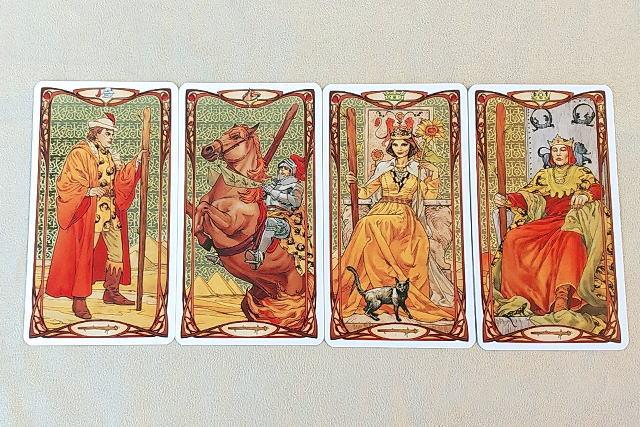 ゴールデン・アールヌーボー・タロット 小アルカナ ワンドの絵札
