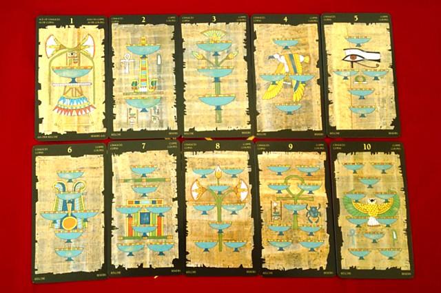 エジプシャン・タロットカードの小アルカナ カップの1~10