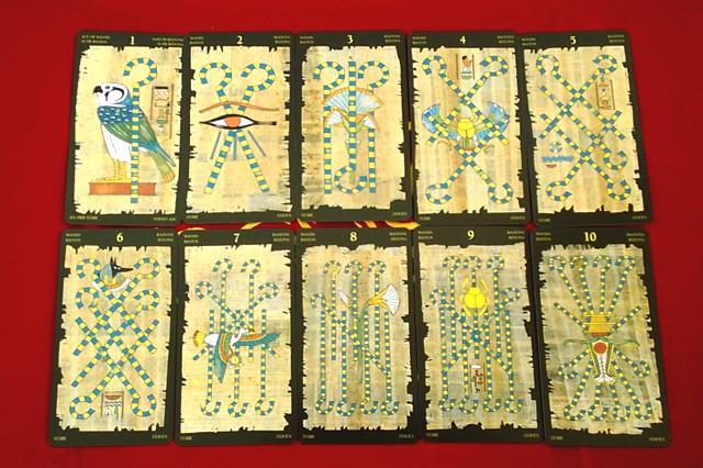 エジプシャン・タロットカードの小アルカナ ワンドの1~10