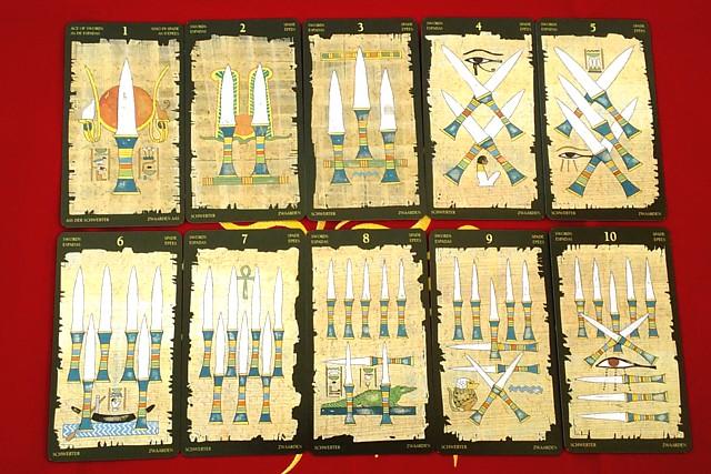 エジプシャン・タロットカードの小アルカナ ソードの1~10