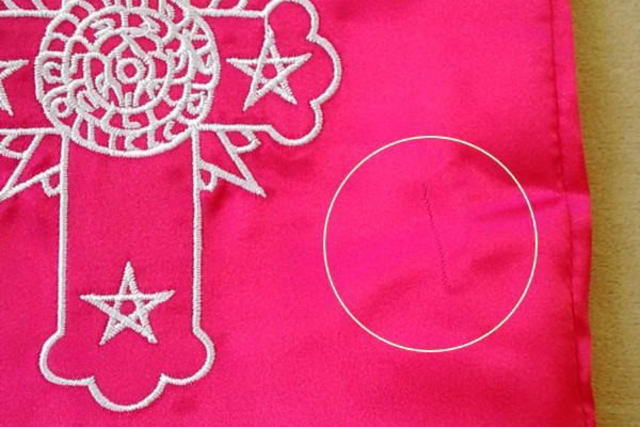 タロットポーチの縫製の乱れ