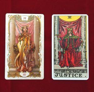 RWSタロットカードとタロットミュシャの比較 11番の正義