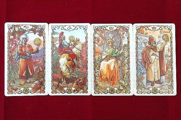 タロットミュシャの小アルカナ ペンタクルの絵札