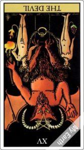 ウェイト版タロットカード 大アルカナ 悪魔 逆位置