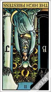 ウェイト版タロットカード 大アルカナ 女教皇 逆位置