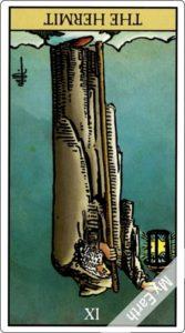 ウェイト版タロットカード 大アルカナ 隠者 逆位置